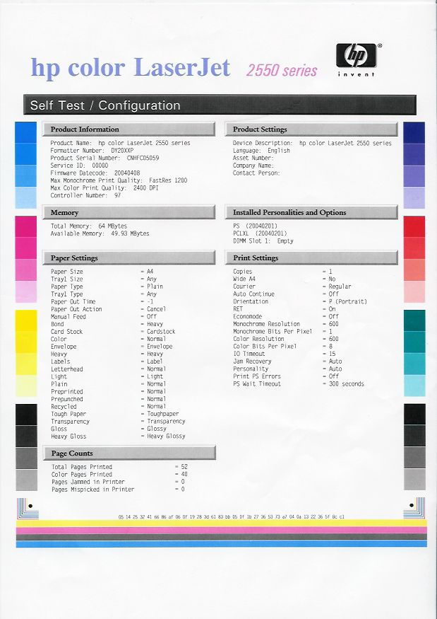 Hp color laserjet 2550 work configuration page for Hp printer color test page