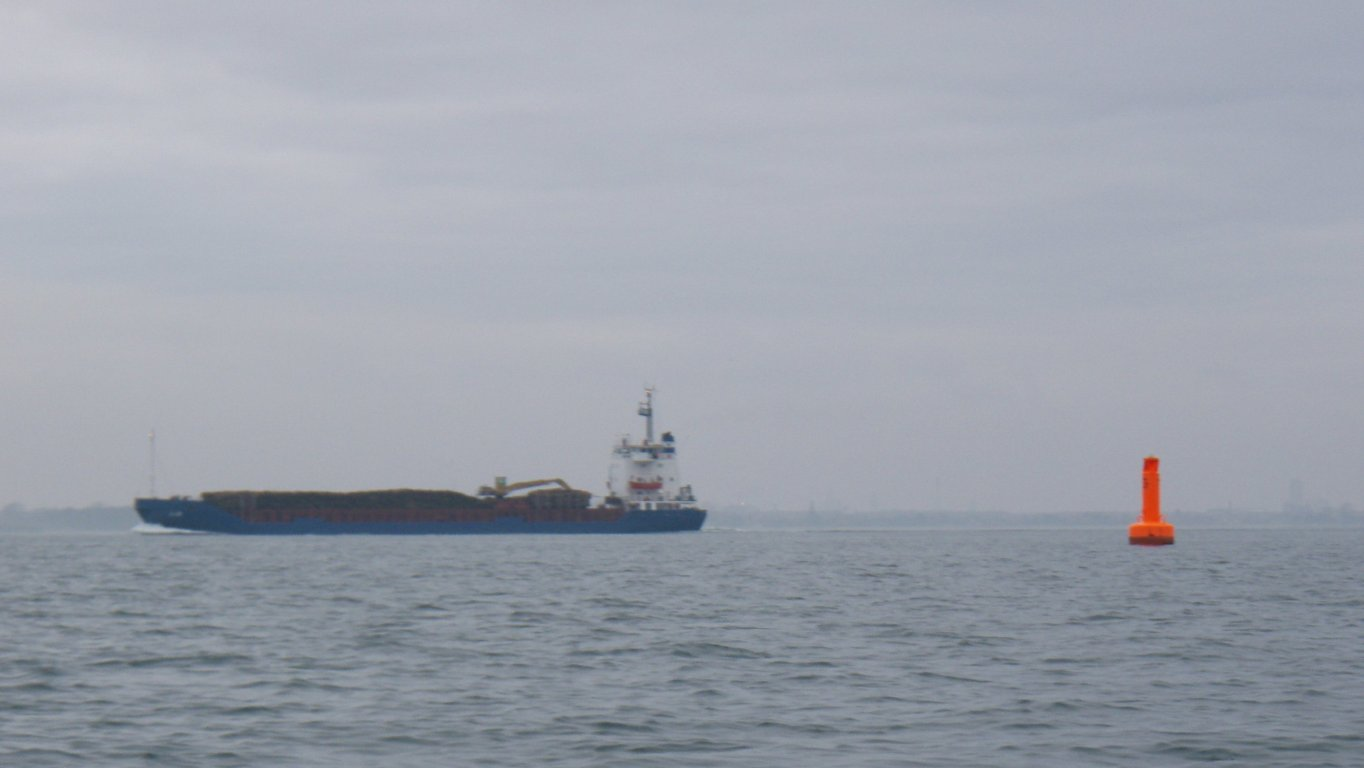 Ship passing in the sea lane