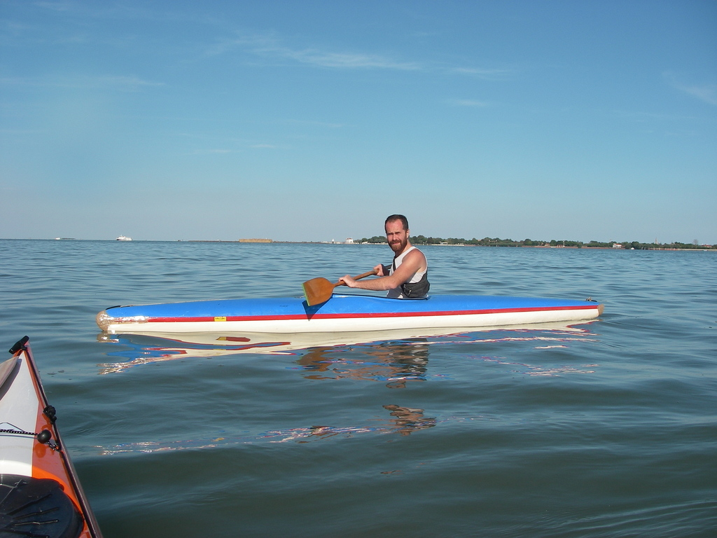 Paddler in the lagoon
