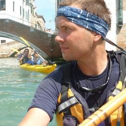 René Seindal paddling in Venice, Itally