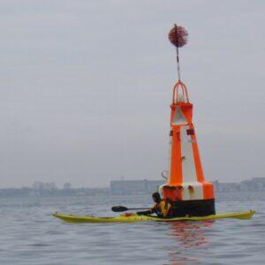 The white/orange buoy