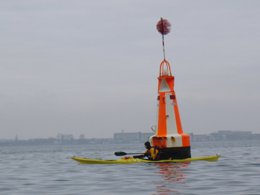 The white/orange buoy
