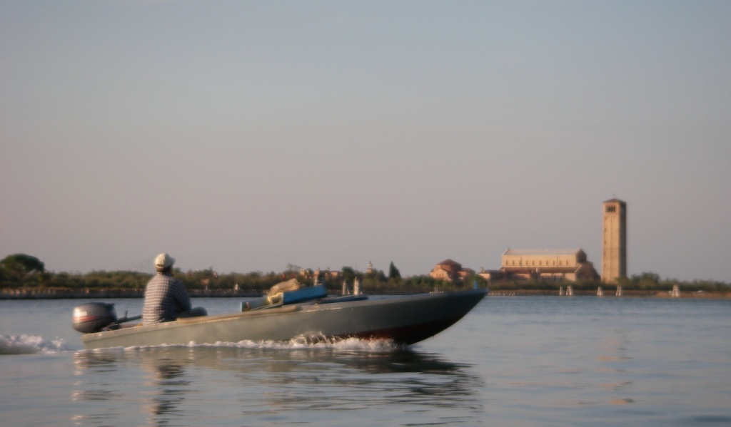 Motorboat between Burano and Torcello, in the background