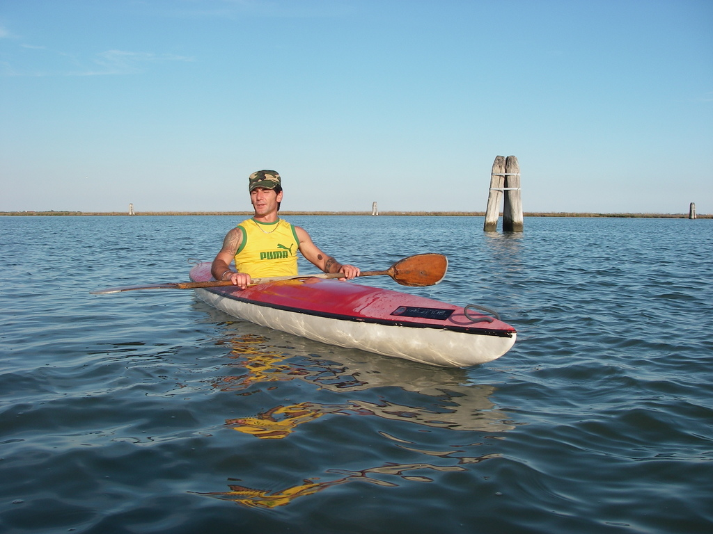 Another paddler in the lagoon