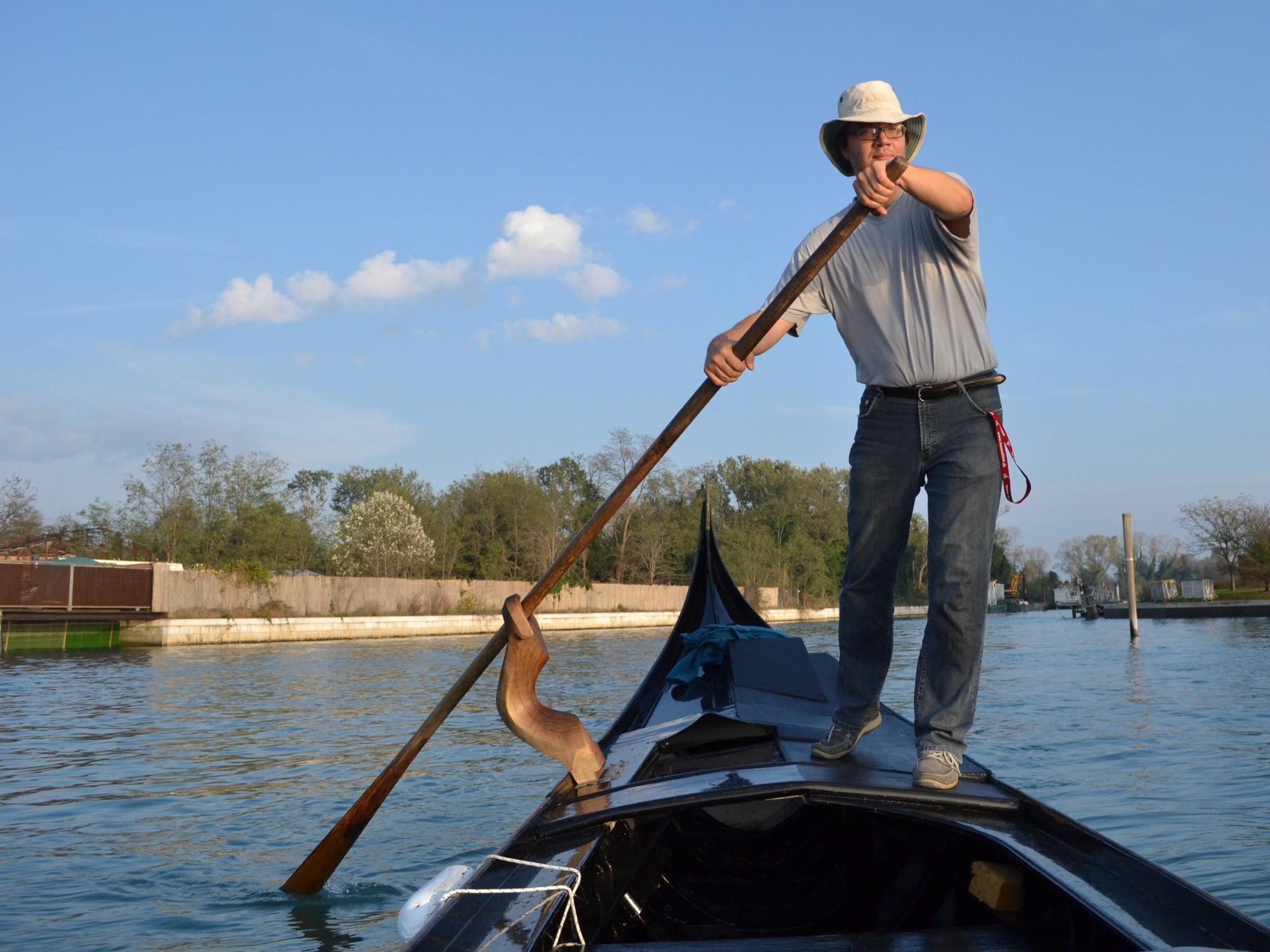 René rowing the gondola