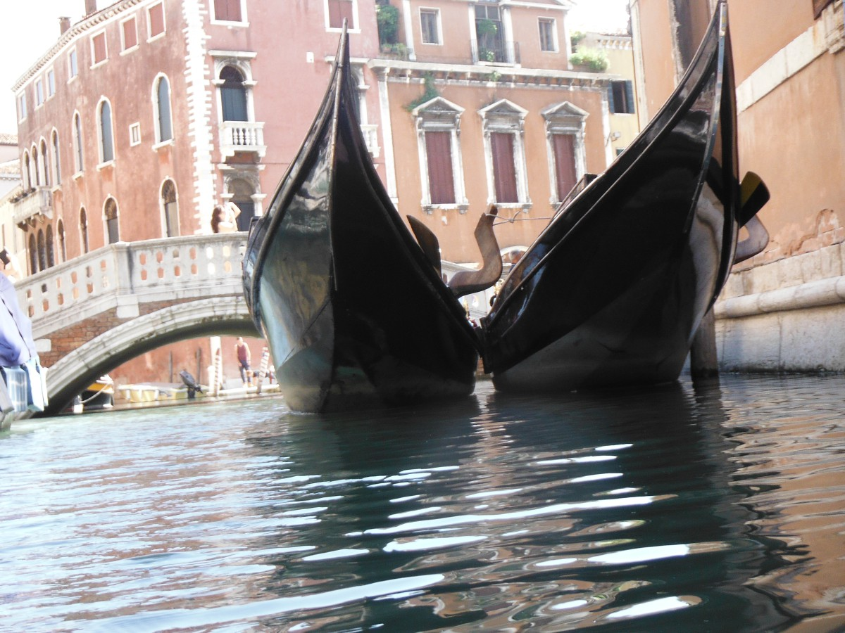 A kayaker's view of moored gondolas
