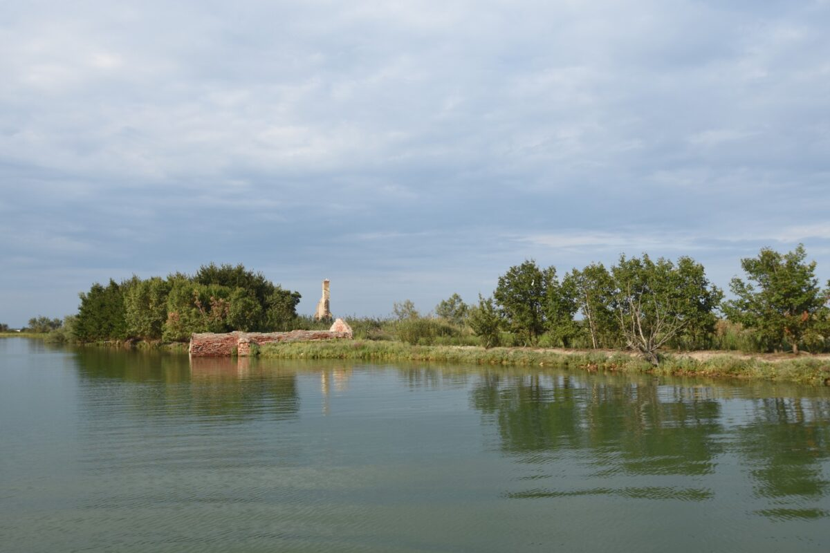 The abandoned island La Cura with riuns
